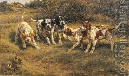 Five Pointer Puppies by Edmund Henry Osthaus - Reproduction Oil Painting