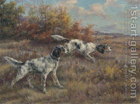 Two setters on a point in an extended landscape by Edmund Henry Osthaus - Reproduction Oil Painting