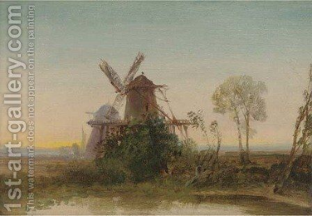 Windmills at sunset by Edward H. Niemann - Reproduction Oil Painting