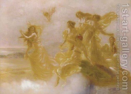 Goddesses dancing on Mount Olympus by Edouard Bisson - Reproduction Oil Painting
