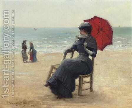 Sitting by the Sea by Edouard Bisson - Reproduction Oil Painting