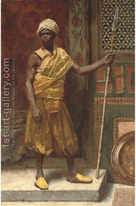 Palace guard, Granada by Edouard Frédéric Wilhelm Richter - Reproduction Oil Painting