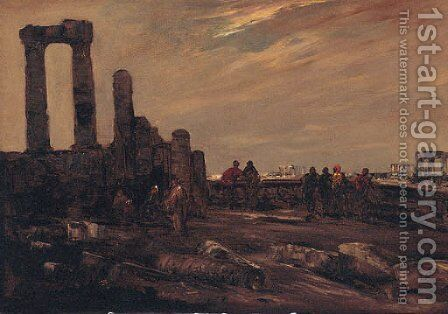 Arab Figures Among Ruins by Jacques-Edouard Dufeu - Reproduction Oil Painting