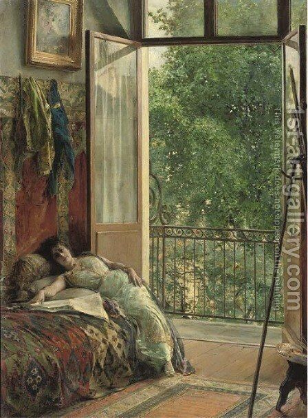 Modellpause a break in the studio by Edouard Frédéric Wilhelm Richter - Reproduction Oil Painting