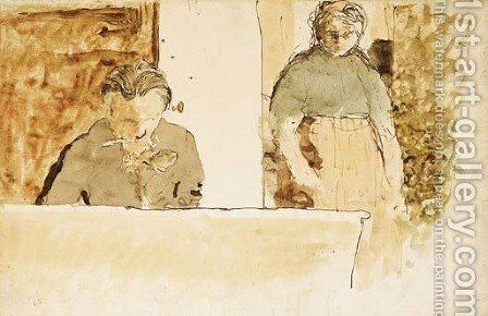 Deux figures au piano by Edouard  (Jean-Edouard) Vuillard - Reproduction Oil Painting