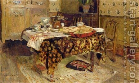 La table mise, rue Truffaut by Edouard  (Jean-Edouard) Vuillard - Reproduction Oil Painting