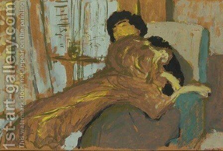 Madame Lucie Hessel et son chien Basto by Edouard  (Jean-Edouard) Vuillard - Reproduction Oil Painting
