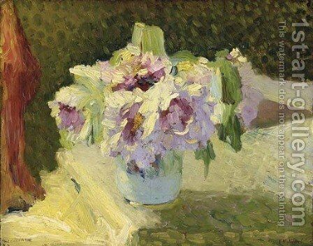 Vase de fleurs by Edouard  (Jean-Edouard) Vuillard - Reproduction Oil Painting