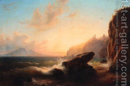Vico Equense, Gulf of Sorrento by Eduard Agricola - Reproduction Oil Painting