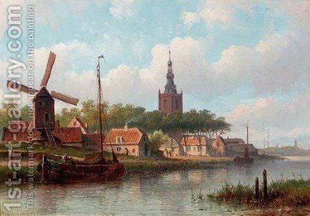 A Dutch town in summer by Eduard Alexander Hilverdink - Reproduction Oil Painting