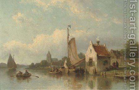 A river landscape with fishermen in their boats by Eduard Alexander Hilverdink - Reproduction Oil Painting