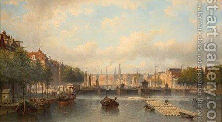 The river Amstel with the Magere Brug in the distance, Amsterdam by Eduard Alexander Hilverdink - Reproduction Oil Painting