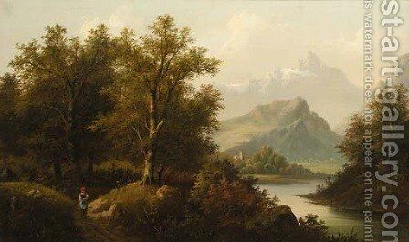 A figure by a lake with a church and mountains beyond; and A figure by a chalet in an Alpine landscape by Eduard Boehm - Reproduction Oil Painting