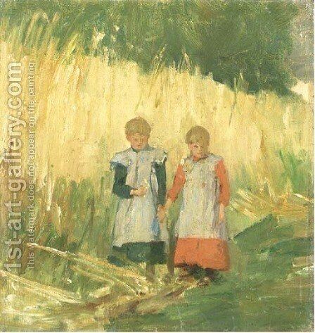 Sisters a walk through a field in summer by Eduard Frankfort - Reproduction Oil Painting