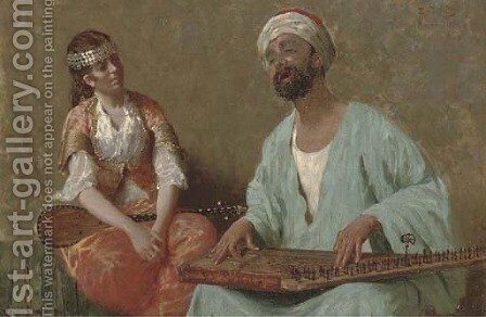 A tune on the sitar by Eduardo Galli - Reproduction Oil Painting