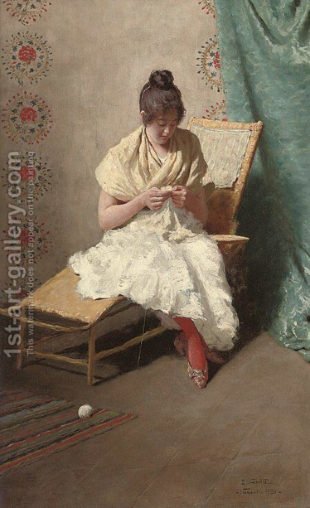 The seamstress by Eduardo Galli - Reproduction Oil Painting