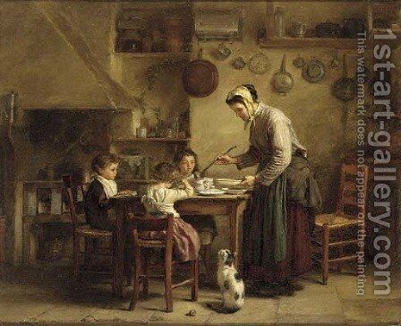 Feeding the children by Edouard Frère - Reproduction Oil Painting