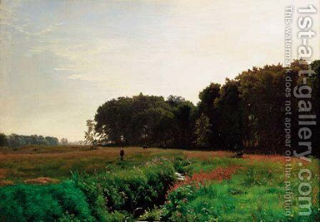A tranquil summer landscape by Edvard Frederik Petersen - Reproduction Oil Painting