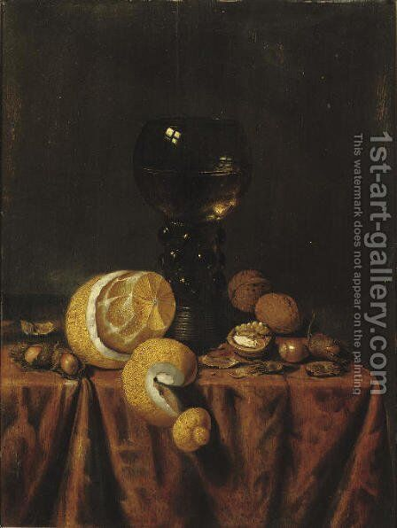 A 'Roemer' of white wine, a partially peeled lemon, walnuts and hazelnuts, all on a draped table by Edwaert Collier - Reproduction Oil Painting