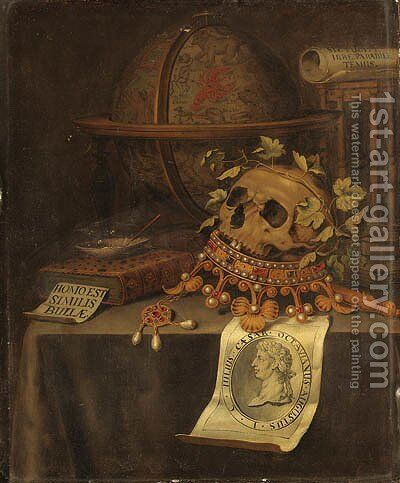 A Vanitas Still Life with a Skull in a jewelled Crown, an astrological Globe, an Hourglass, a Book by Edwaert Collier - Reproduction Oil Painting