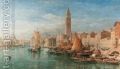 A view along the Grand Canal, Venice by Edward Alfred Angelo Goodall - Reproduction Oil Painting