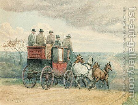 The stage coach Tally Ho on the open road by Edward Algernon Stuart Douglas - Reproduction Oil Painting