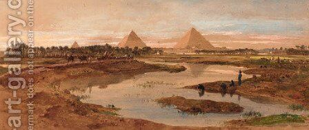 A camel train with the pyramids beyond by Edward Alfred Angelo Goodall - Reproduction Oil Painting