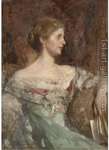 Portrait of Jane Bury, seated half-length, in a blue dress, holding a book by Edward Arthur Walton - Reproduction Oil Painting