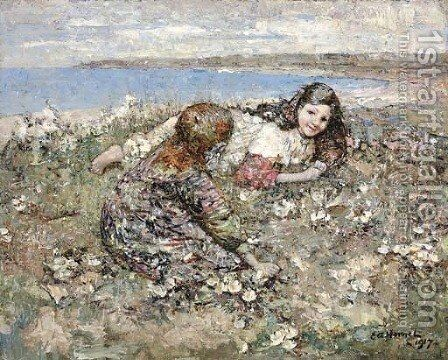 Spring Roses by Edward Atkinson Hornel - Reproduction Oil Painting