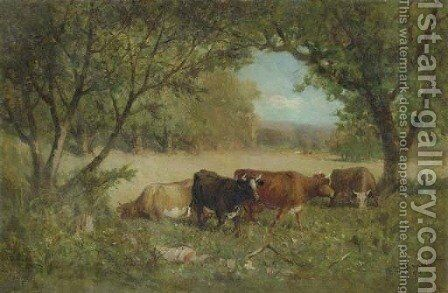 Cows in a Pasture by Edward Mitchell Bannister - Reproduction Oil Painting