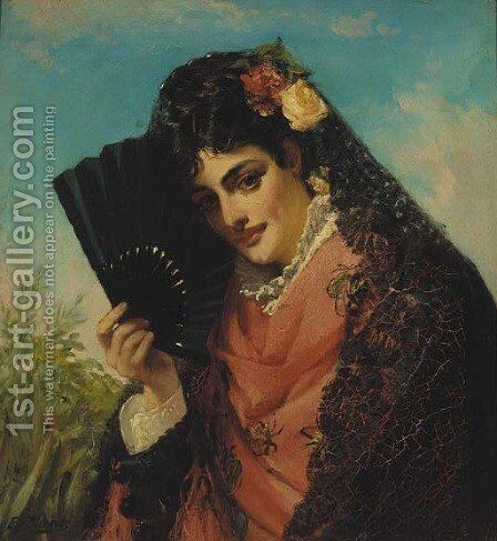 A Spanish beauty by Edward Charles Barnes - Reproduction Oil Painting