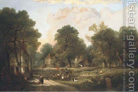A village in the New Forest by Edward Charles Williams - Reproduction Oil Painting