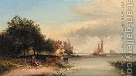 Figures resting by a cottage in an extensive river estuary landscape by Edward Charles Williams - Reproduction Oil Painting