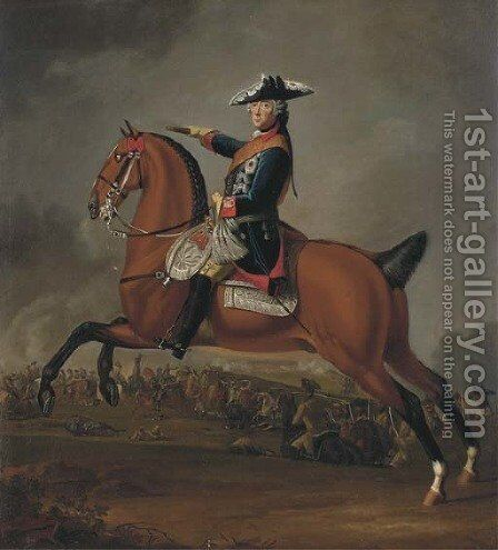 An equestrian portrait of Fredrick II of Prussia (1712-1786) by Edward Francis (Francesco Calza) Cunningham - Reproduction Oil Painting