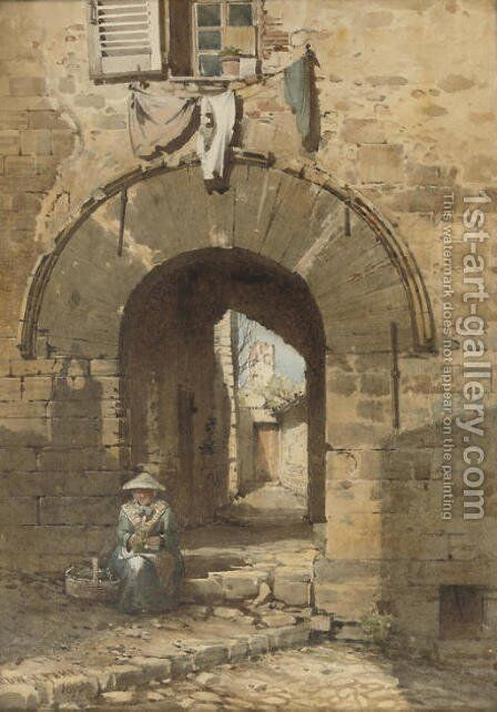 The Norman Arch, Old Town, Hyeres by Edward Henry Fahey - Reproduction Oil Painting