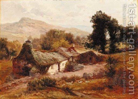 A croft in a Highland landscape by Edward Henry Holder - Reproduction Oil Painting