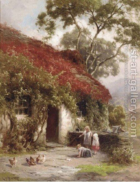 A game outside the cottage by Edward Henry Holder - Reproduction Oil Painting