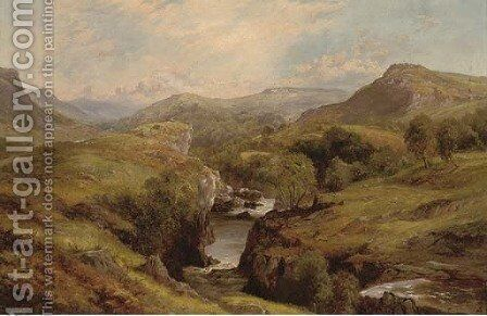 A river winding through an extensive landscape by Edward Henry Holder - Reproduction Oil Painting