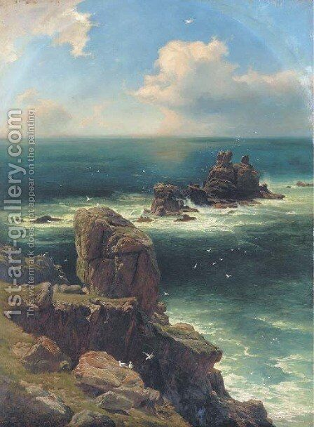 A thunderstorm passing over Lands End by Edward Henry Holder - Reproduction Oil Painting