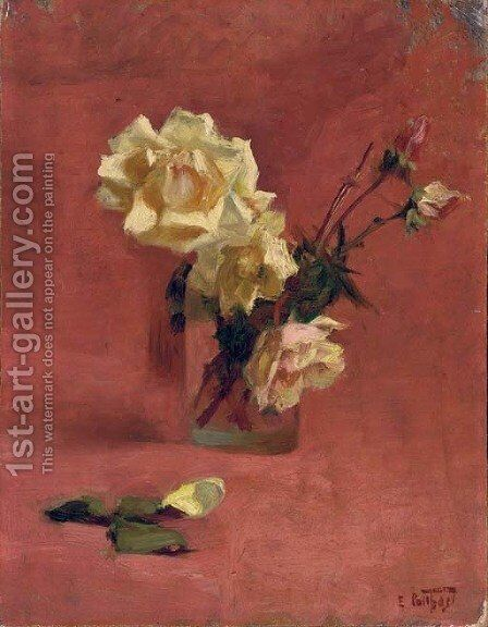 Yellow Roses in a Glass Vase by Edward Henry Potthast - Reproduction Oil Painting