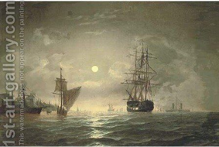 An armed merchantman and other shipping in the Bosphorous off Constantinople, by moonlight by Edward Hoyer - Reproduction Oil Painting