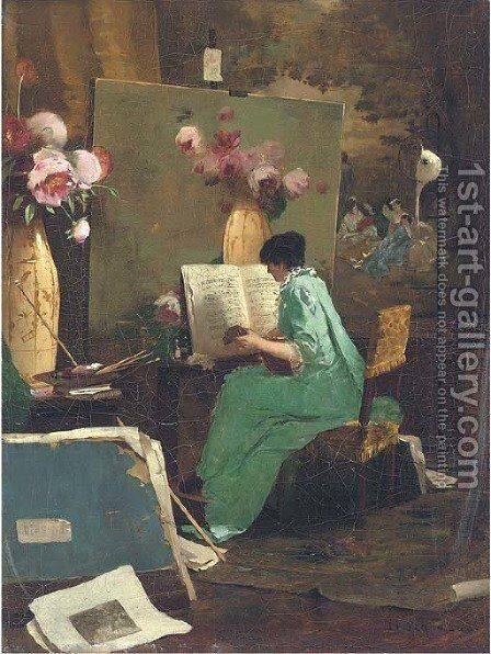 A musical interlude by Edouard Menta - Reproduction Oil Painting