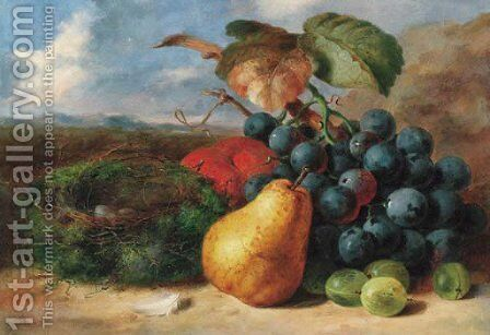 Gooseberries, a pear, a peach, grapes and a bird's nest, on a bank by Edward Ladell - Reproduction Oil Painting