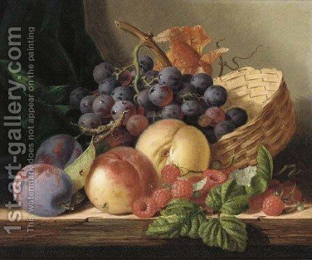 Grapes, peaches, raspberries, and plums with a basket on a wooden shelf by Edward Ladell - Reproduction Oil Painting