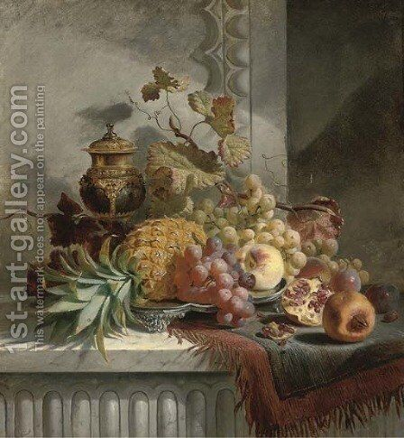 Pineapple, grapes, plums, pomegranate, peaches on a silver tray, on a marble ledge by Edward Ladell - Reproduction Oil Painting