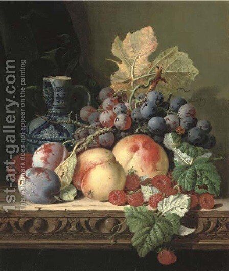 Plums, peaches, raspberries, grapes and a stoneware jug on a carved table by Edward Ladell - Reproduction Oil Painting