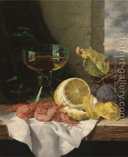 Plums, shrimps, a lemon and a glass of wine, on a wooden ledge by Edward Ladell - Reproduction Oil Painting