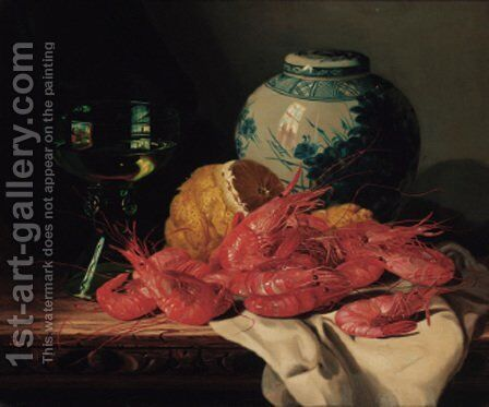 Shrimps, a peeled lemon, a glass of wine and a blue and white ginger jar, on a draped table by Edward Ladell - Reproduction Oil Painting