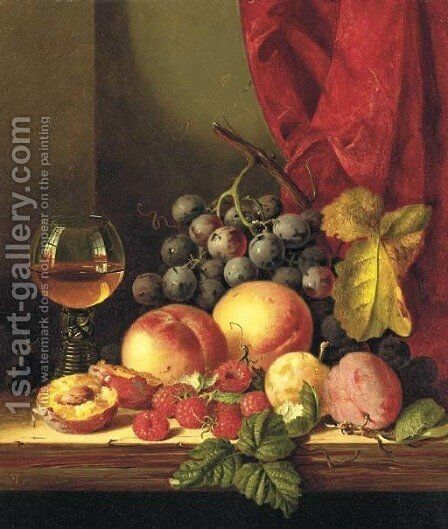 Still life with plums, peaches, black grapes, raspberries, and a roemer by Edward Ladell - Reproduction Oil Painting