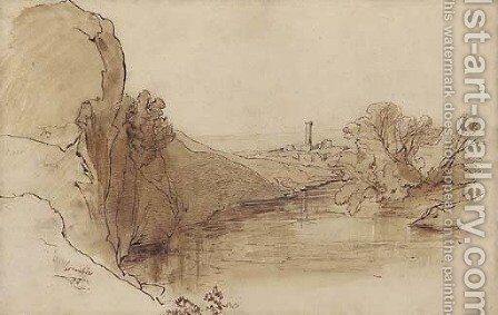 A ruined tower in a river landscape by Edward Lear - Reproduction Oil Painting